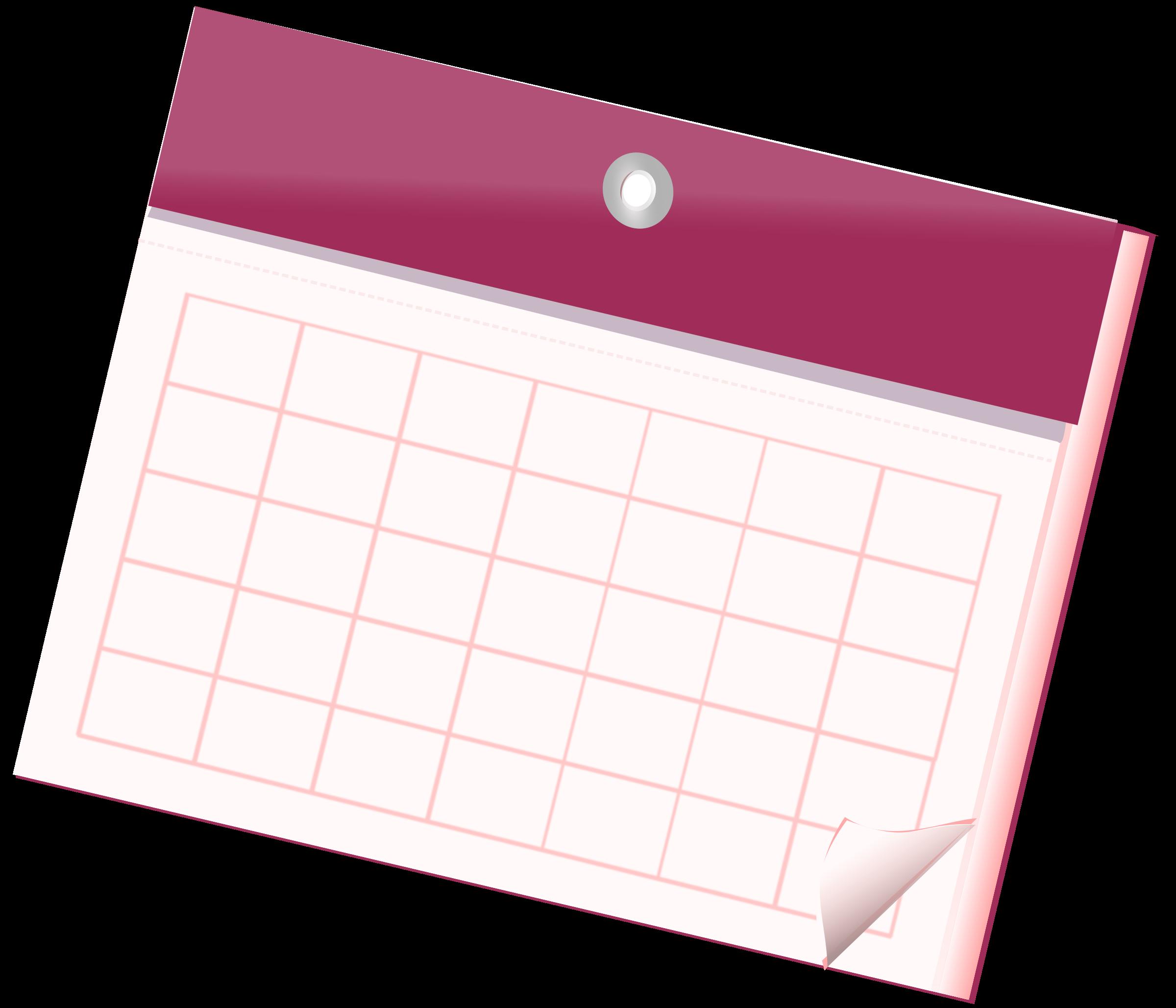Empty sheet big image. Clipart calendar pink