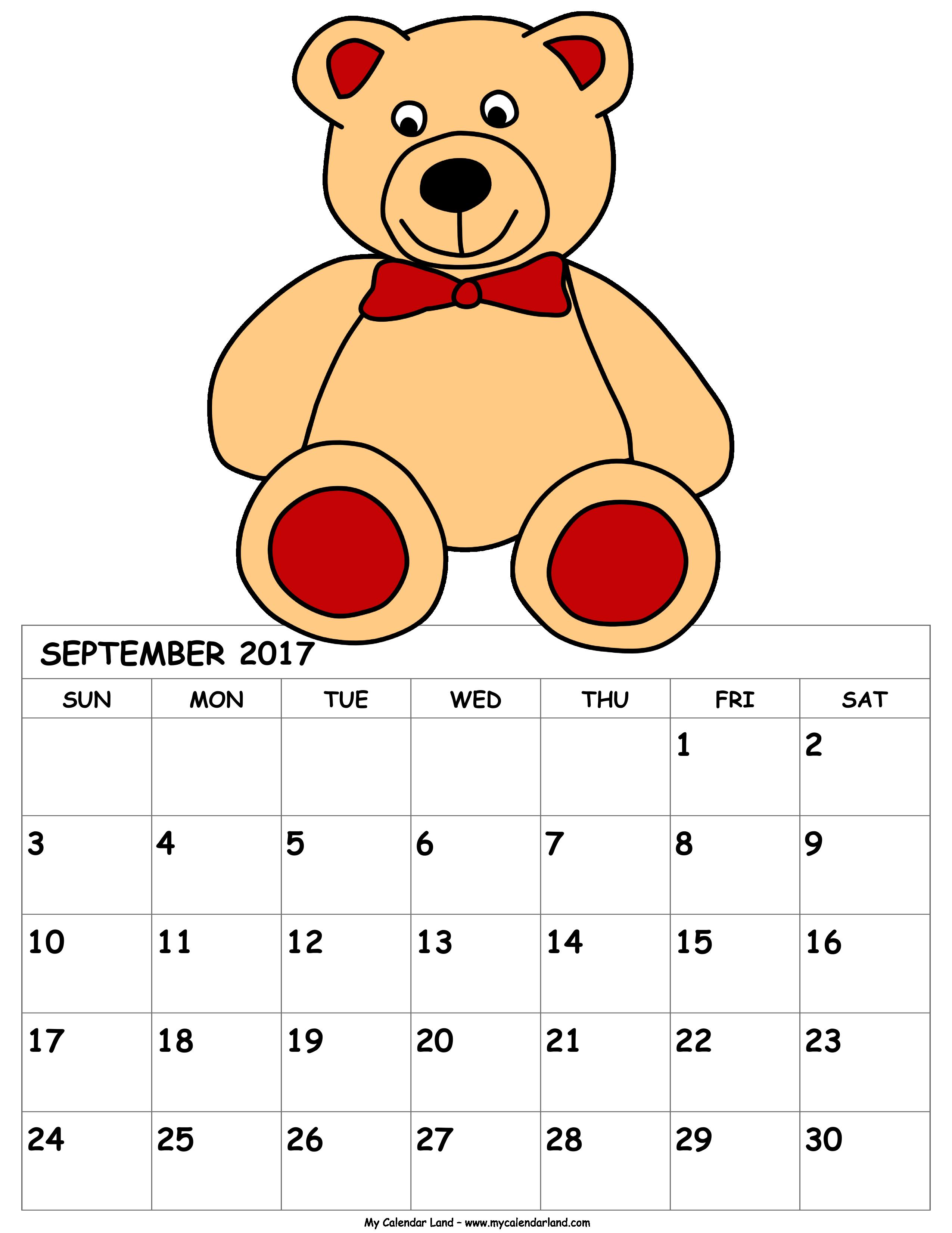 Clipart calendar pink. September my land calendars