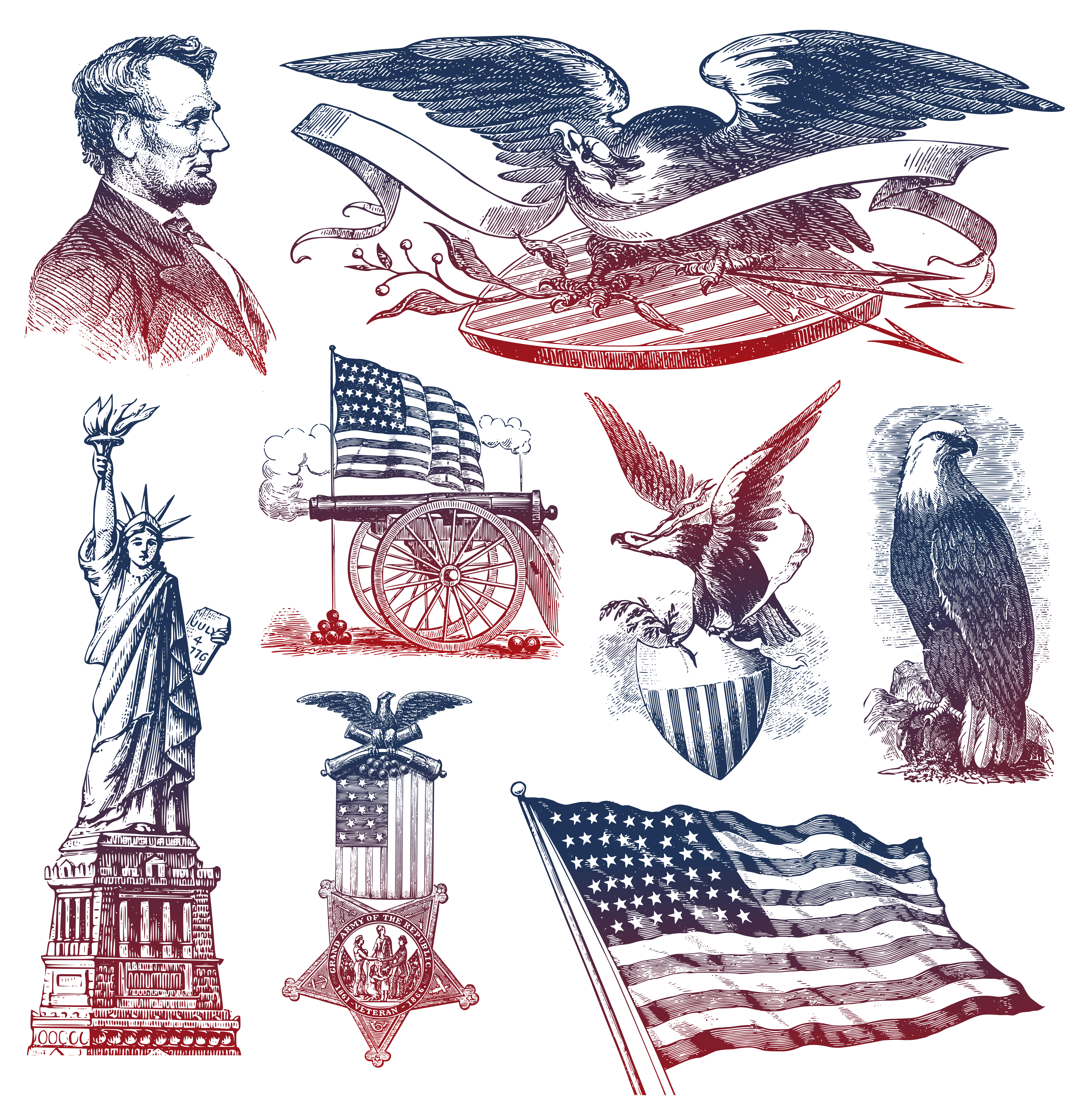 th of july. Clipart calendar sketch
