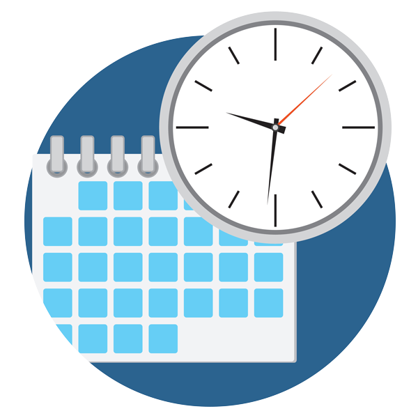 Employee shift planning clock. Planner clipart time plan