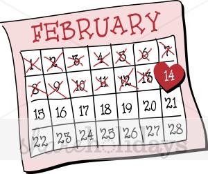Clipart calendar. Valentine s day
