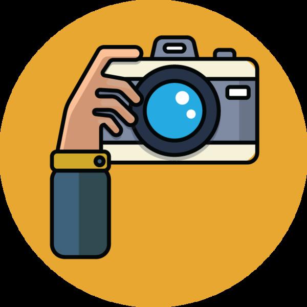cartoon illustration of. Hand clipart camera