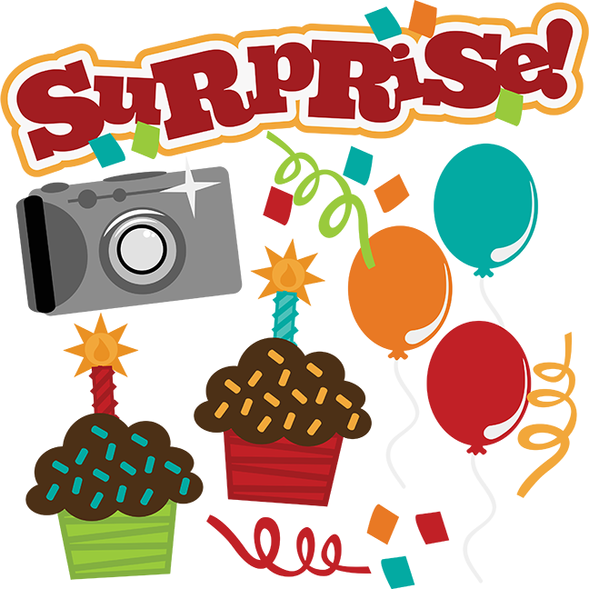 Svg birthday file camera. Surprise clipart surprise word