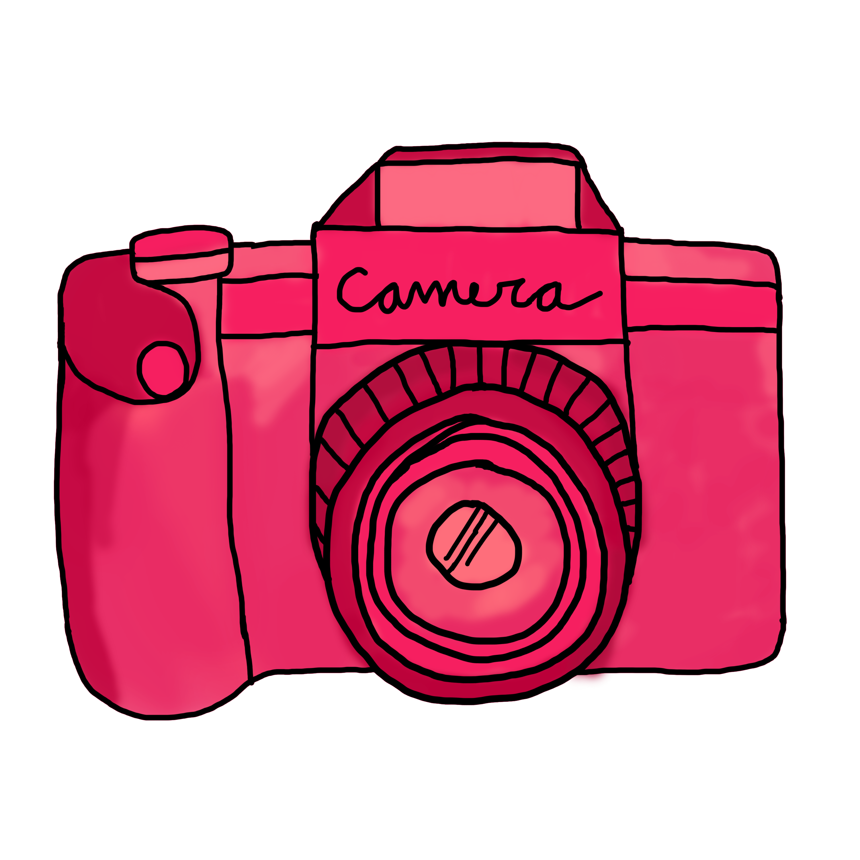 Clipart camera doodle. Red pencil and in