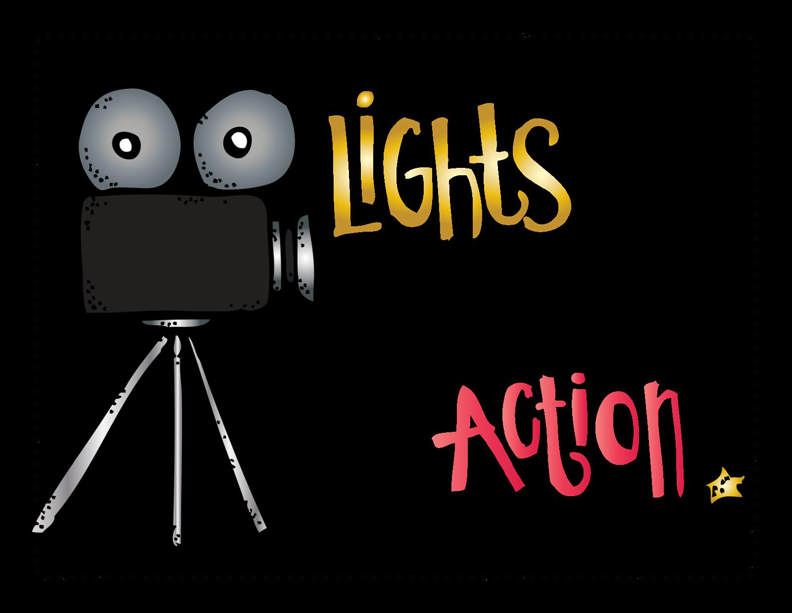 Lights action e aa. Drama clipart camera