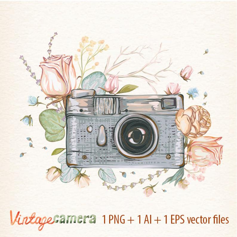 Watercolor with vector small. Flowers clipart camera