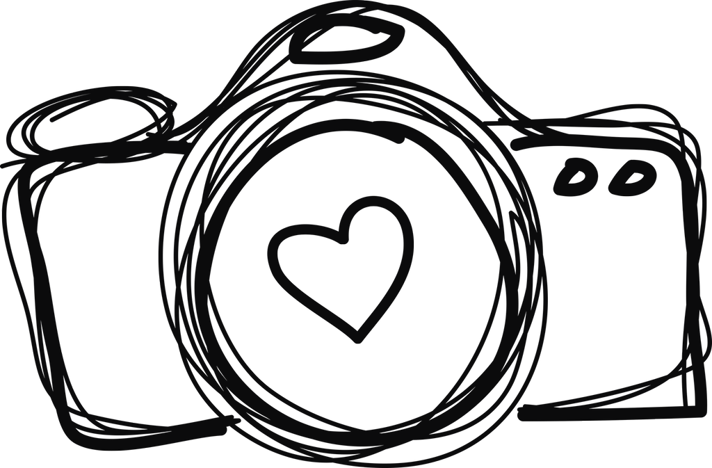 collection of line. Hearts clipart camera