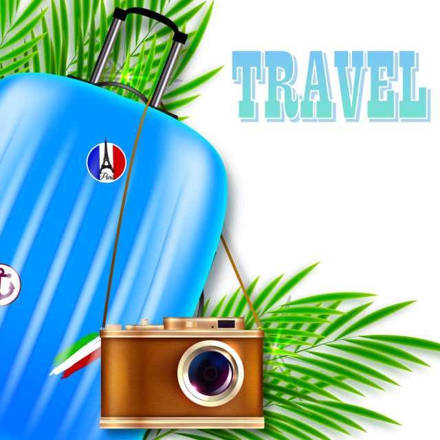 Travel illustration suitcase and. Clipart camera tourist