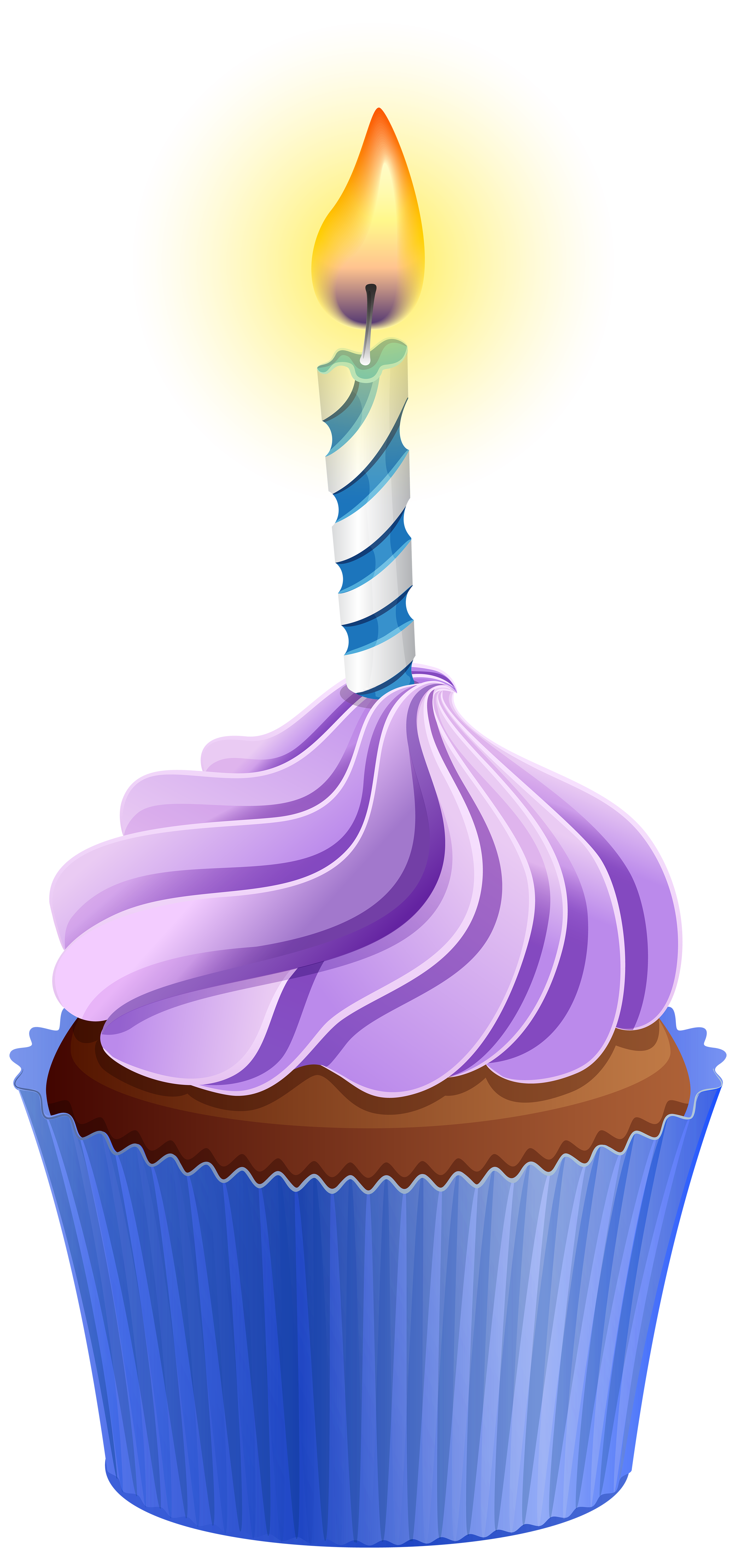 Birthday cupcake with candle. Clipart halloween cup cake