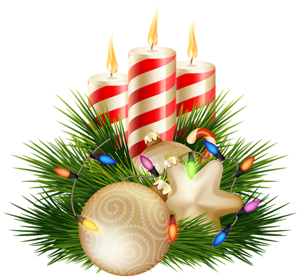 Christmas candle png image. Decorative clipart branch
