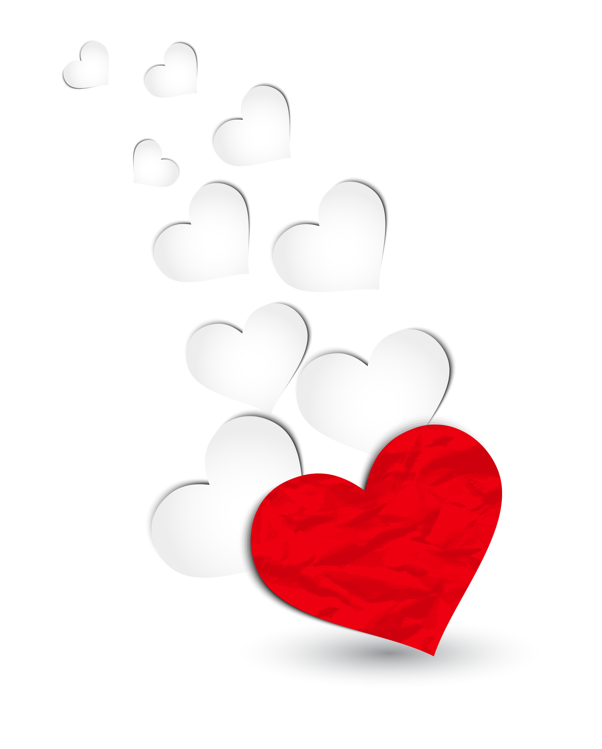 Floating hearts png. Red and white decoration