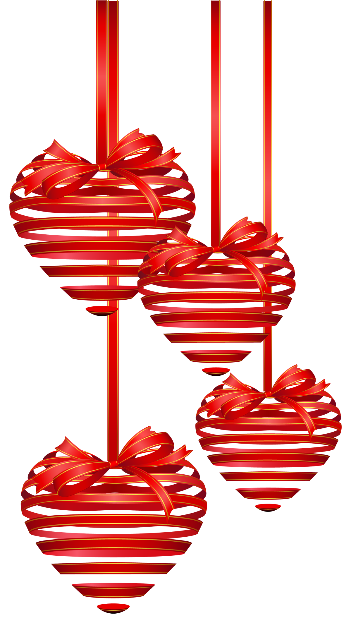 Red ornaments png picture. Hearts clipart christmas