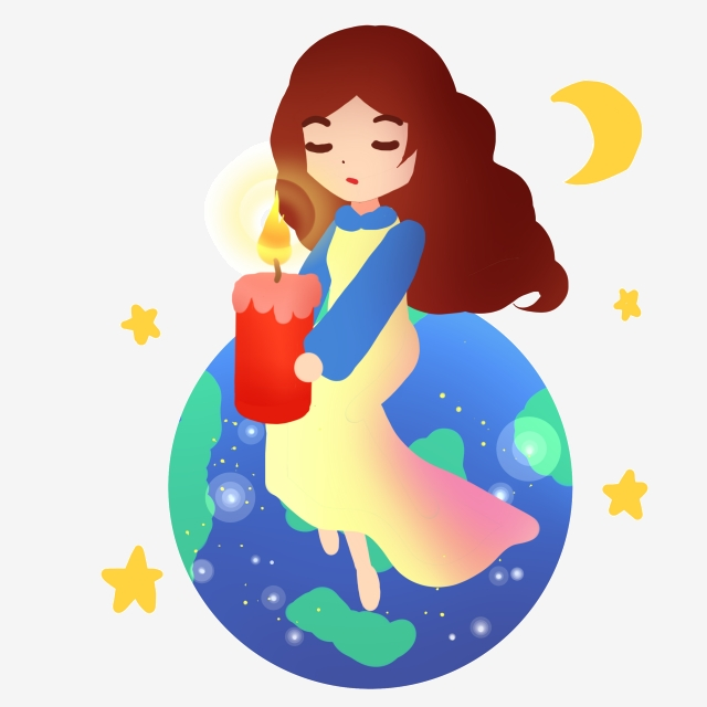 Earth girl holding for. Clipart candle kid