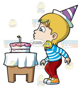 Clipart candle kid. A boy blowing his