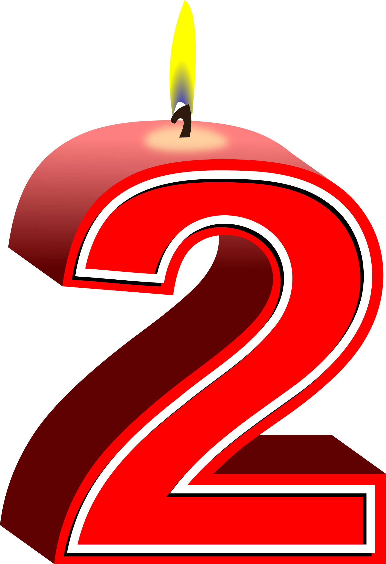 Birthday candle big image. Number 2 clipart 2png