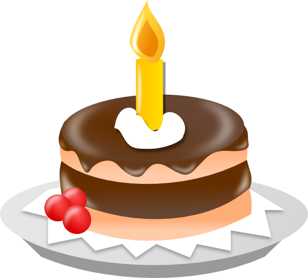 Chocolate cake with clip. One clipart candle