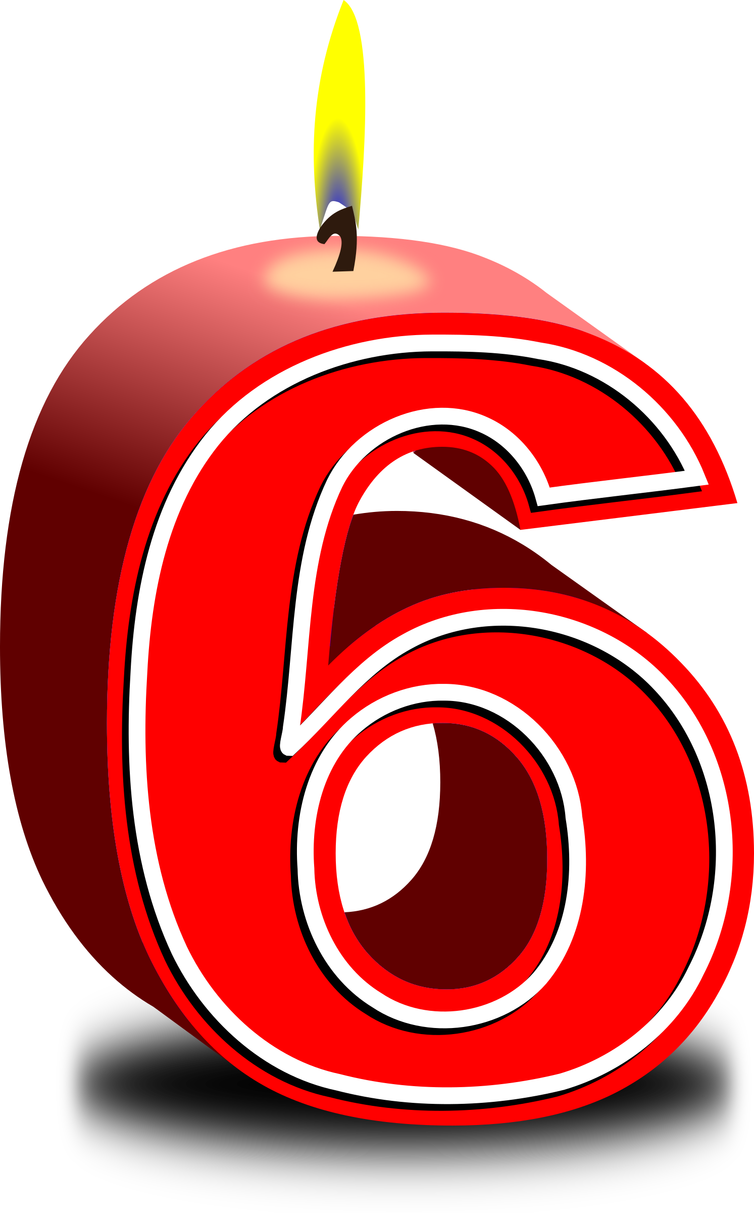 Birthday candle big image. Number 6 clipart free christmas number