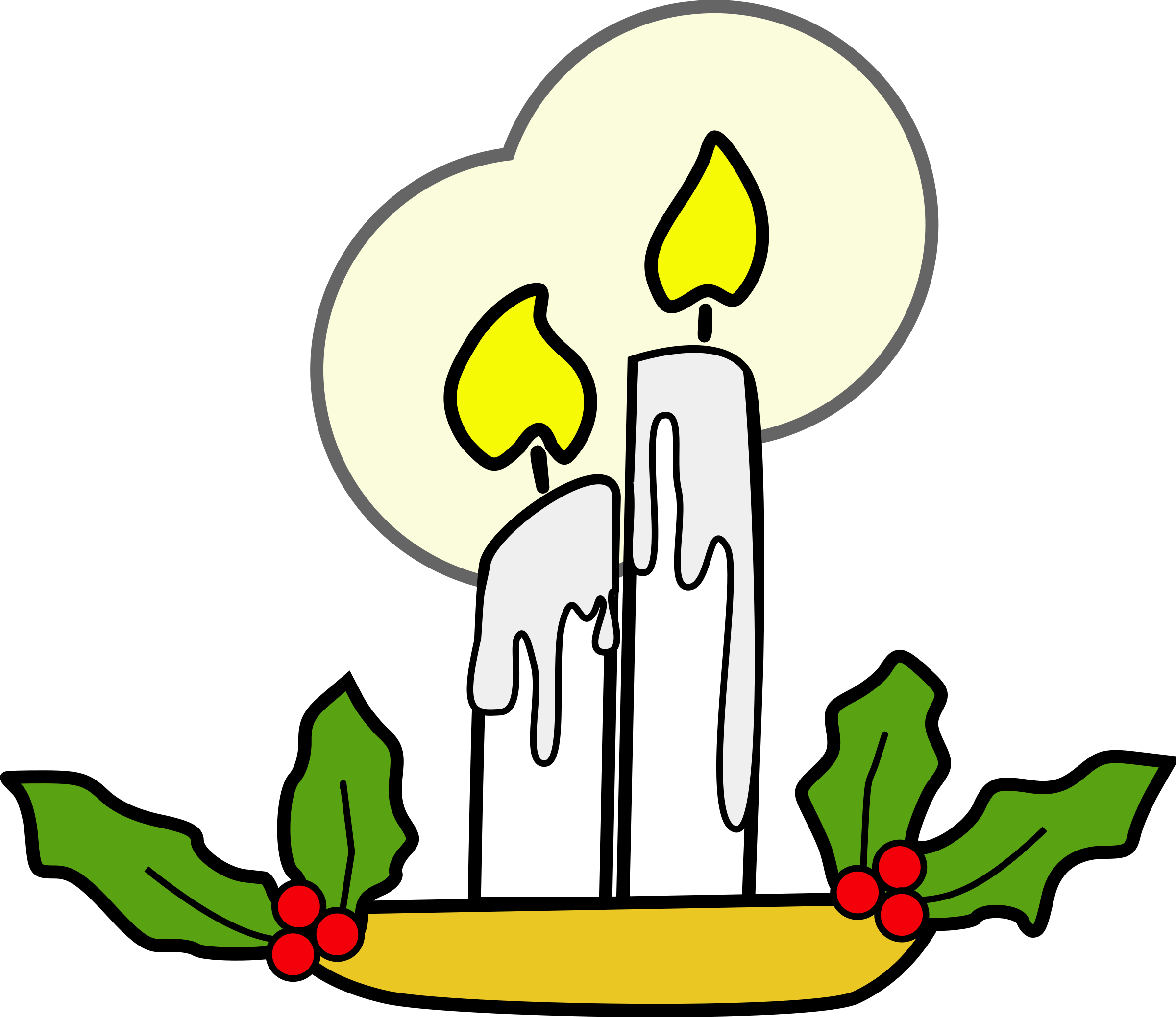 Christmas candles big image. Holly clipart candle