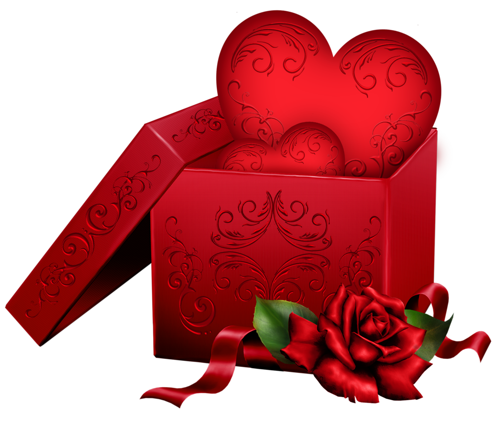 Transparent gift box with. Clipart rose logo