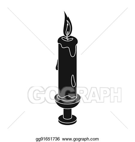 Drawing icon in black. Clipart candle white background