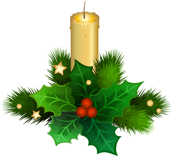 Holly clipart candle. Christmas png clip art