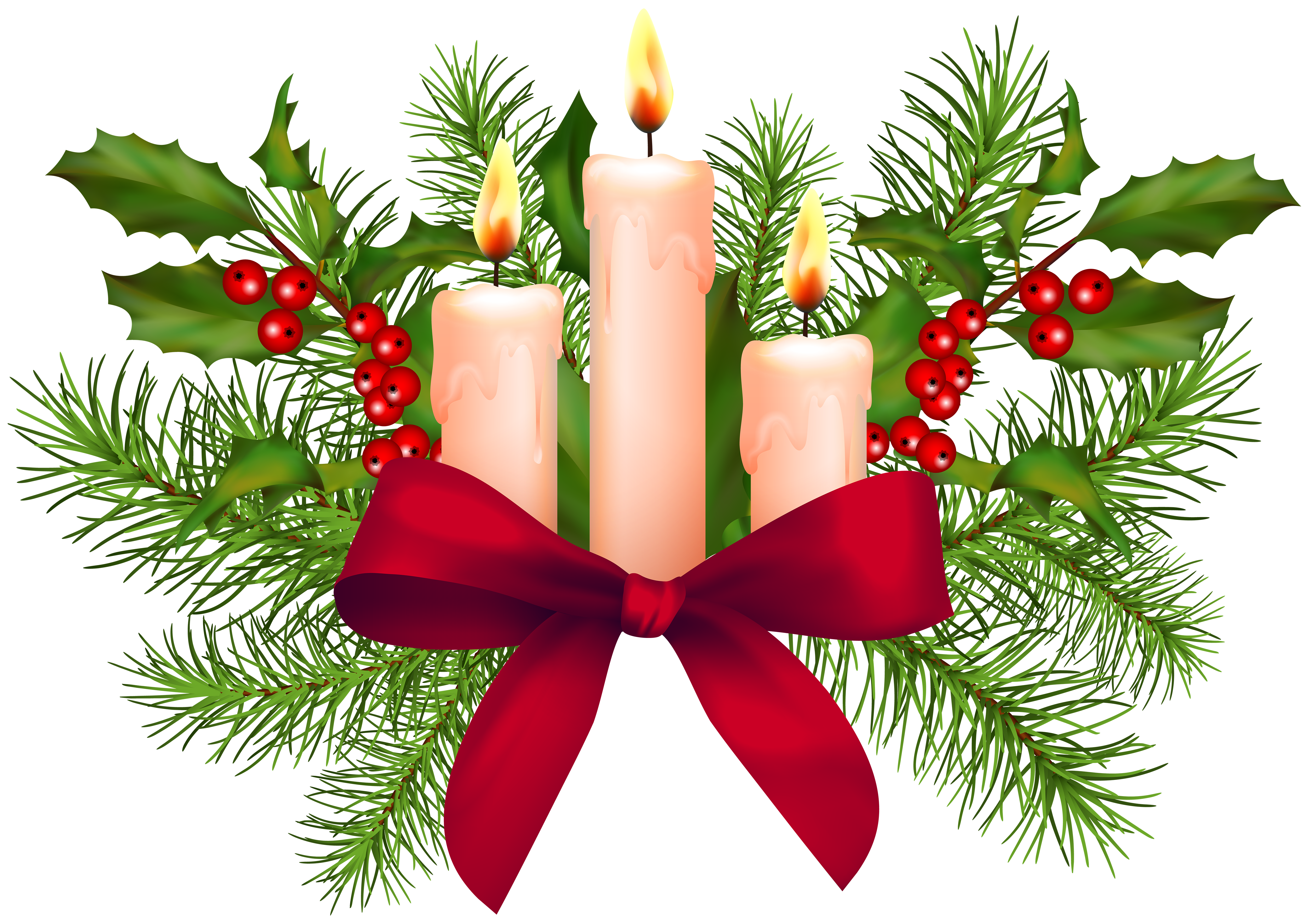Christmas candles transparent png. Holly clipart candle