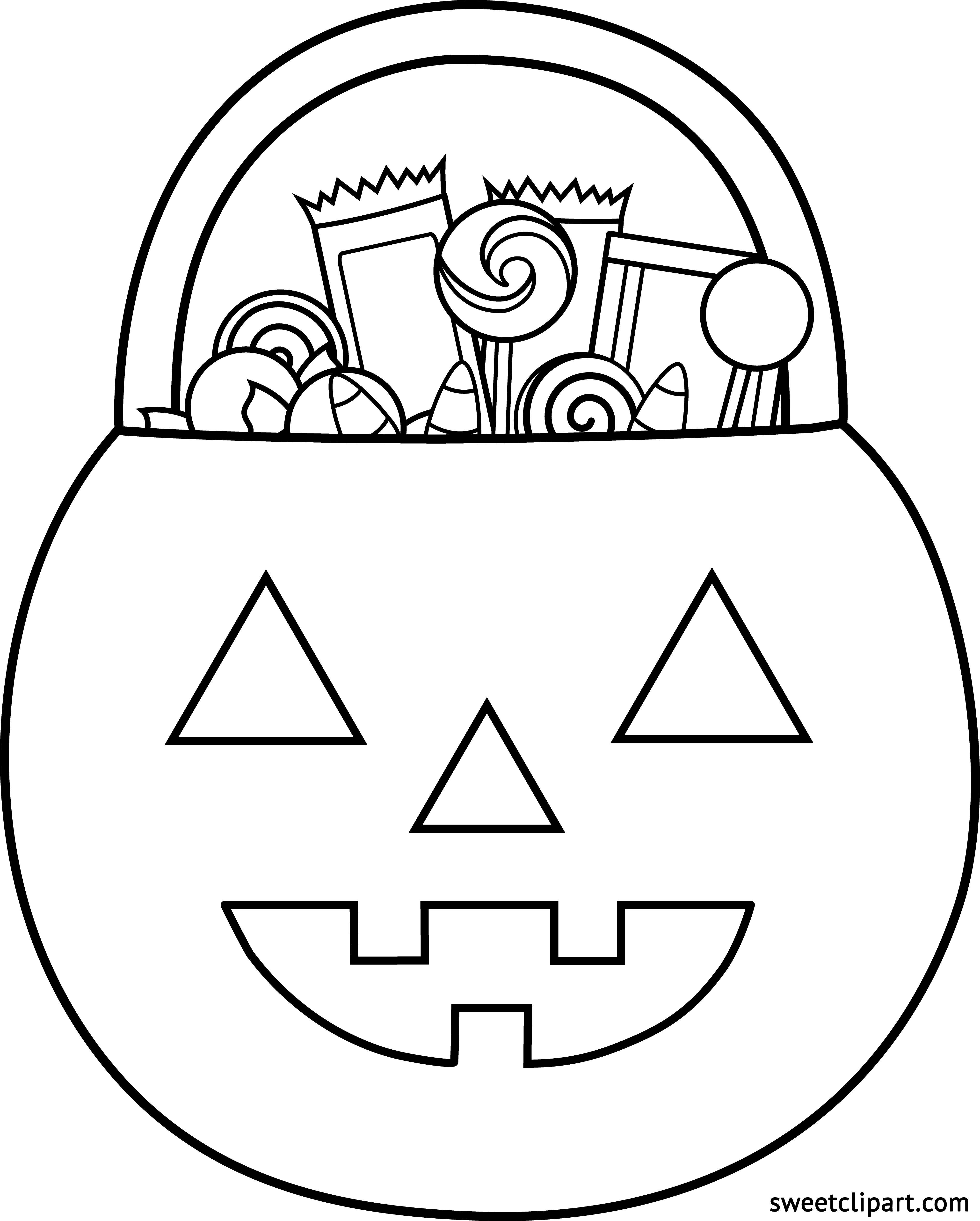 Clipart halloween coloring page. Trick or treat free