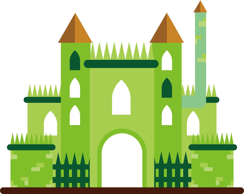 Cartoon illustration green transprent. Clipart castle chocolate