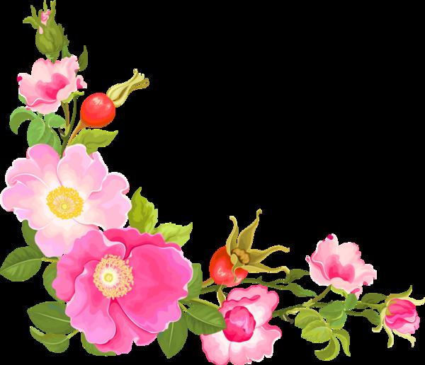 Coins corners bordures flowers. Flower corner png