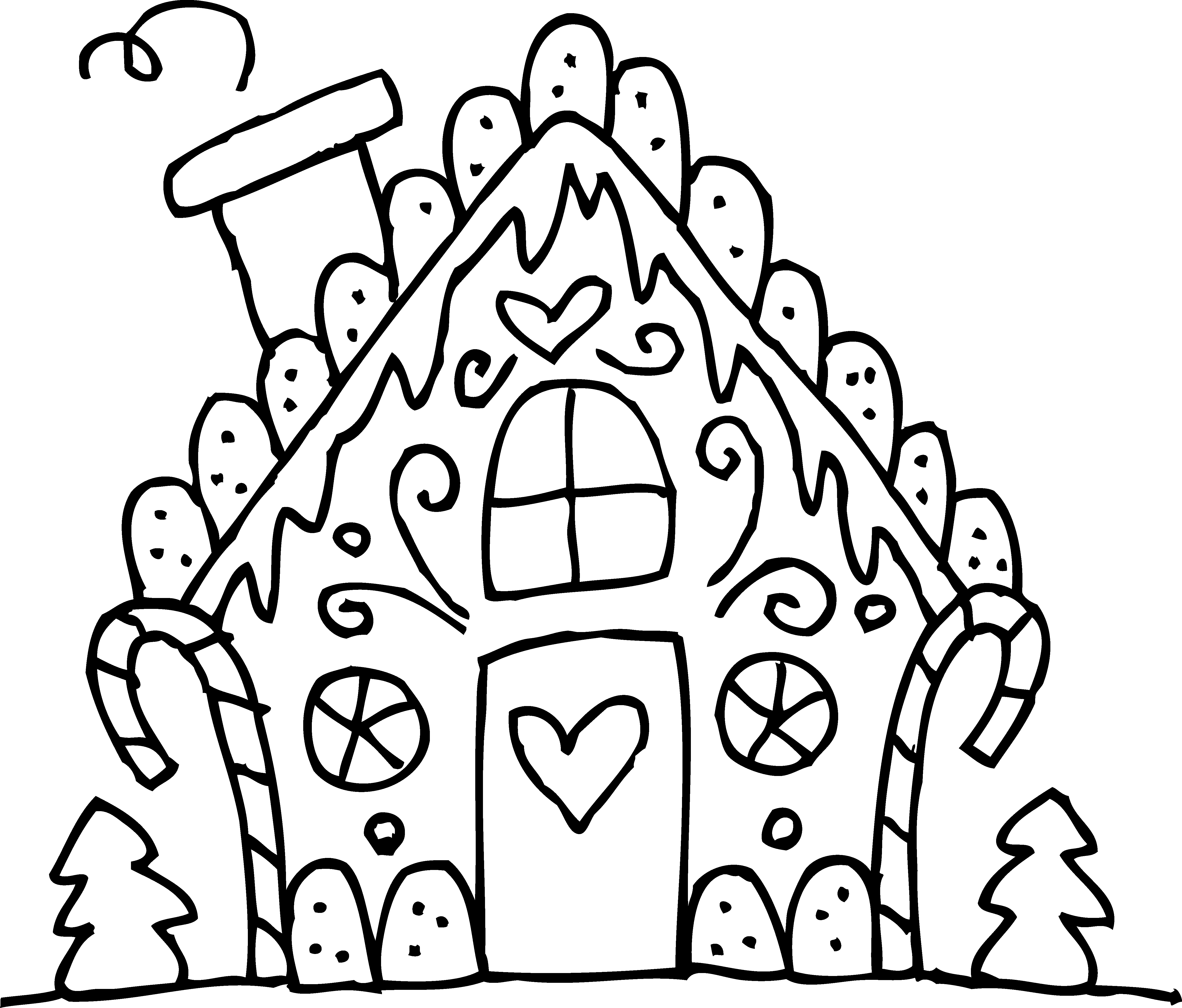 Noodles clipart colouring. Candy house drawing at