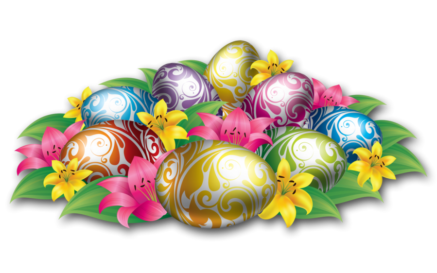Large eggs with flowers. Clipart easter candy