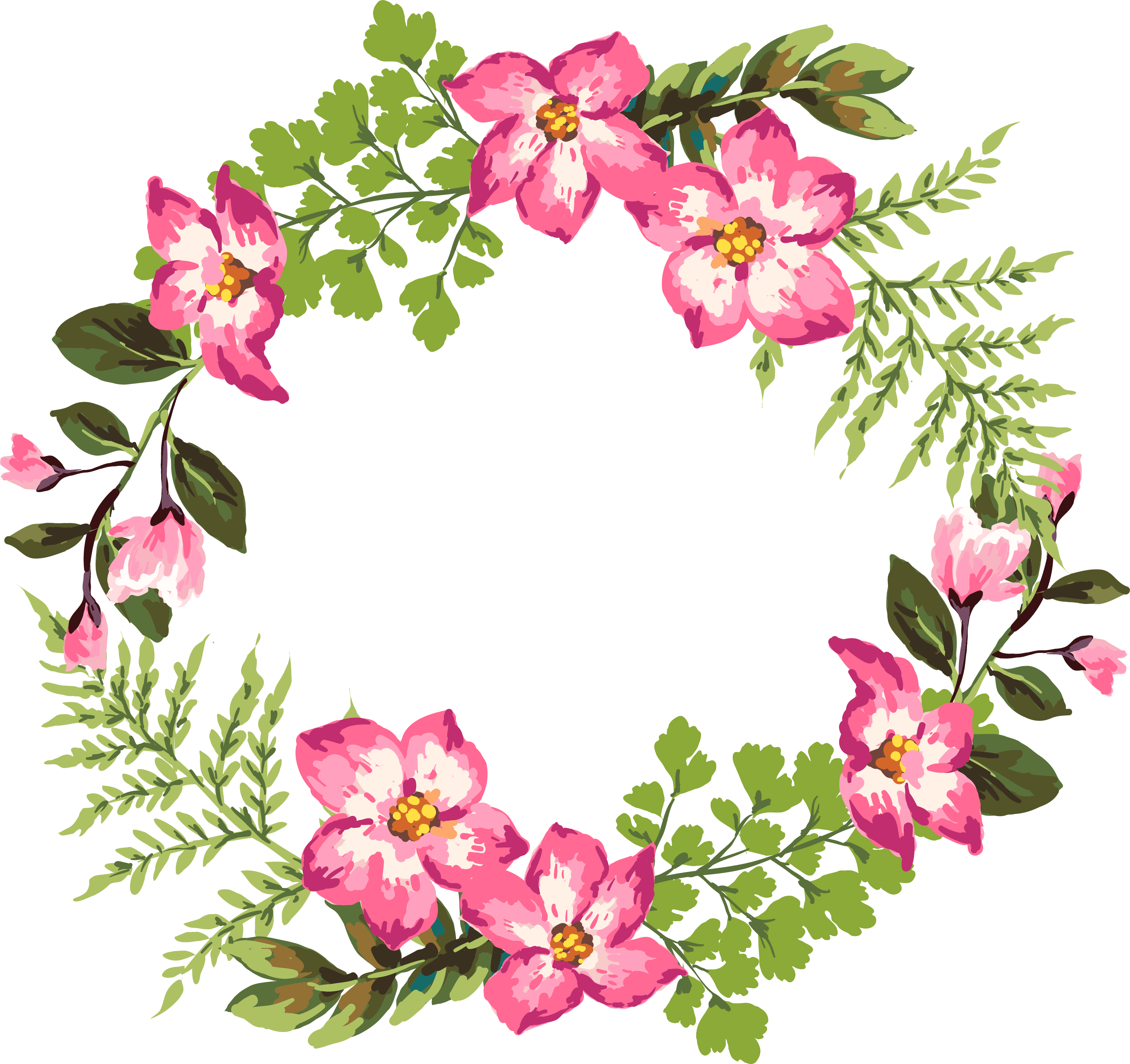 Clipart fruit garland. Flower watercolor painting clip