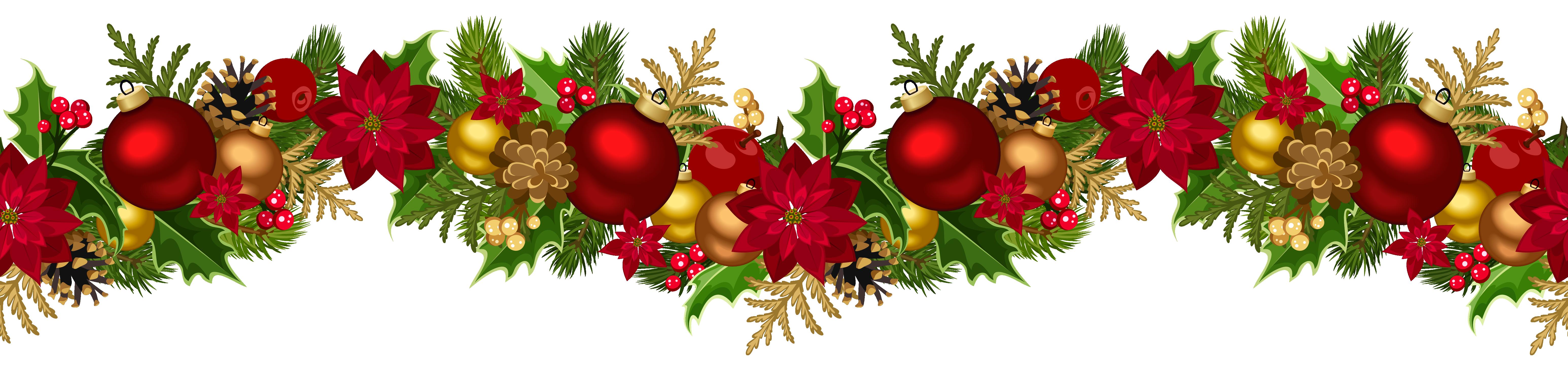 Christmas garland border png. Decorative clip art image