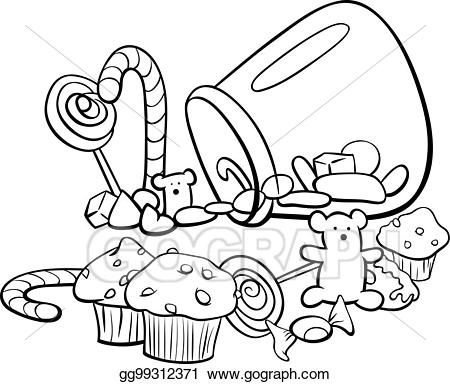 Clipart candy group. Eps vector cartoon coloring