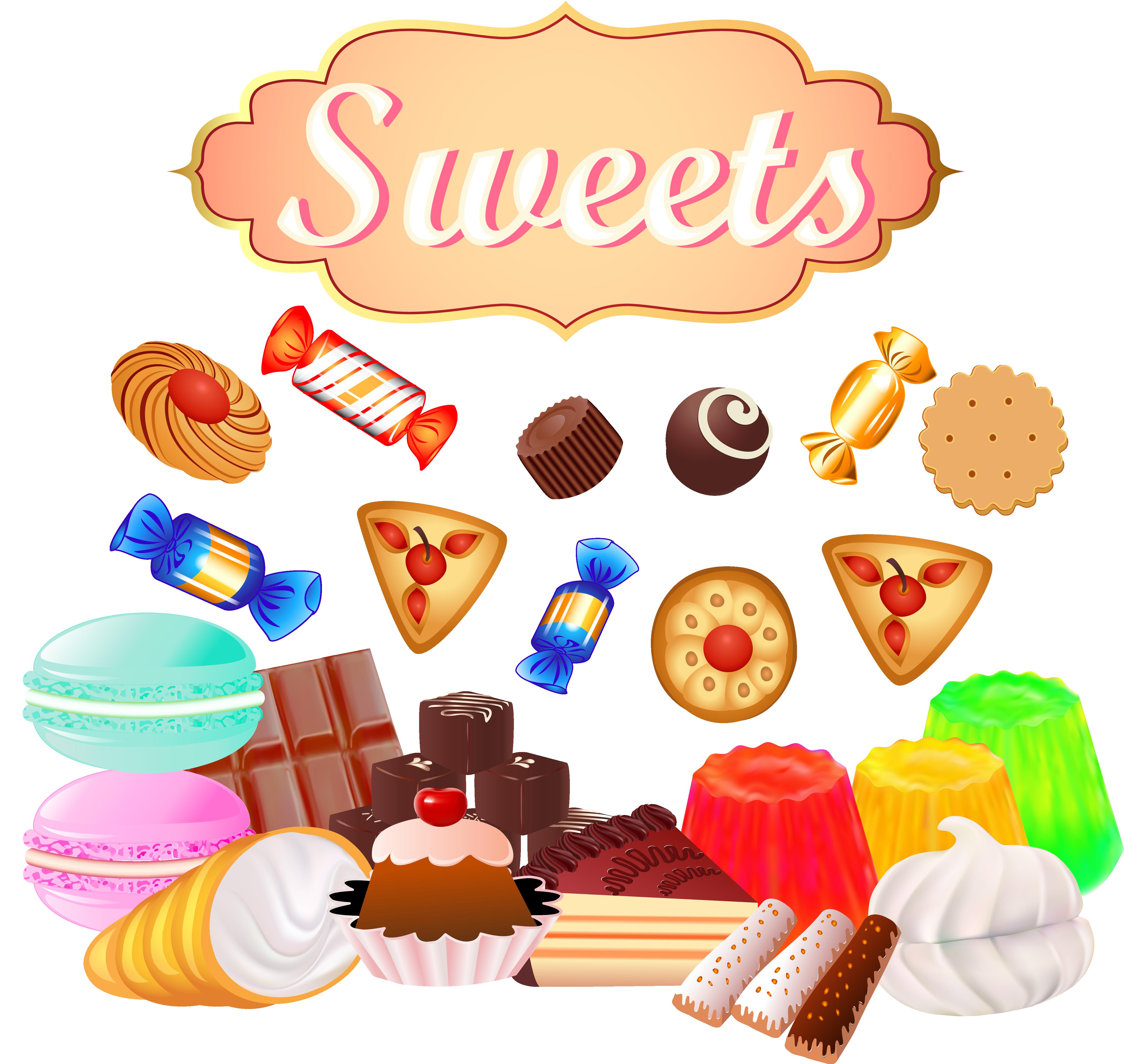 Doughnut cupcake lollipop chocolate. Clipart candy junk food