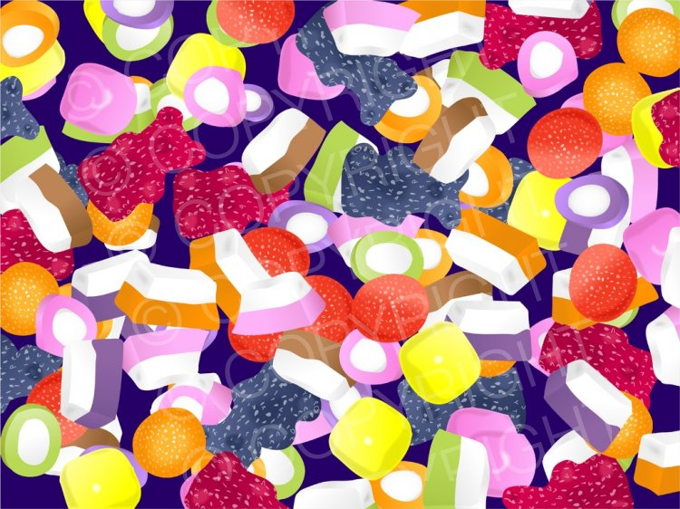 Clipart candy mixture. Dolly mixtures prawny cartoons