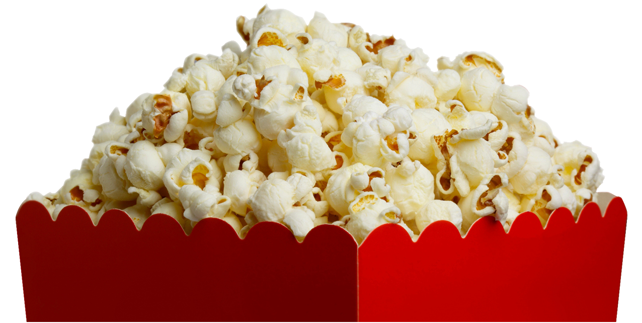 Sweets and treats king. White clipart popcorn