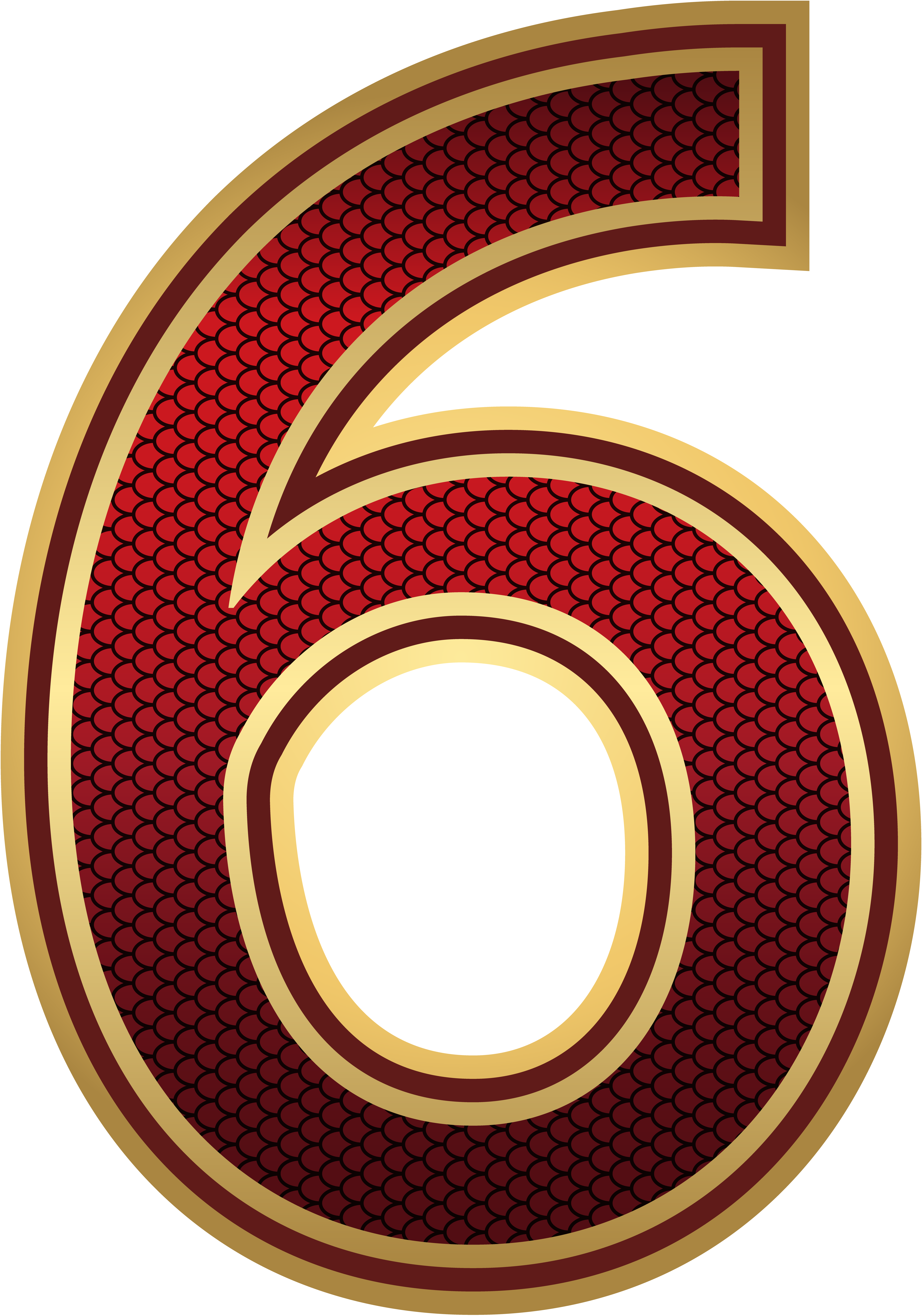 Number 3 clipart golden. Red and gold six