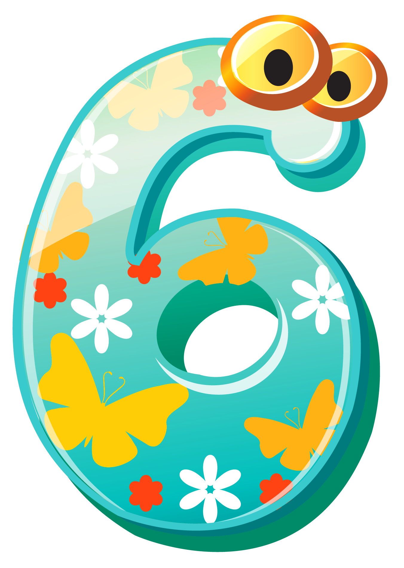 Cute number six image. Numbers clipart learning