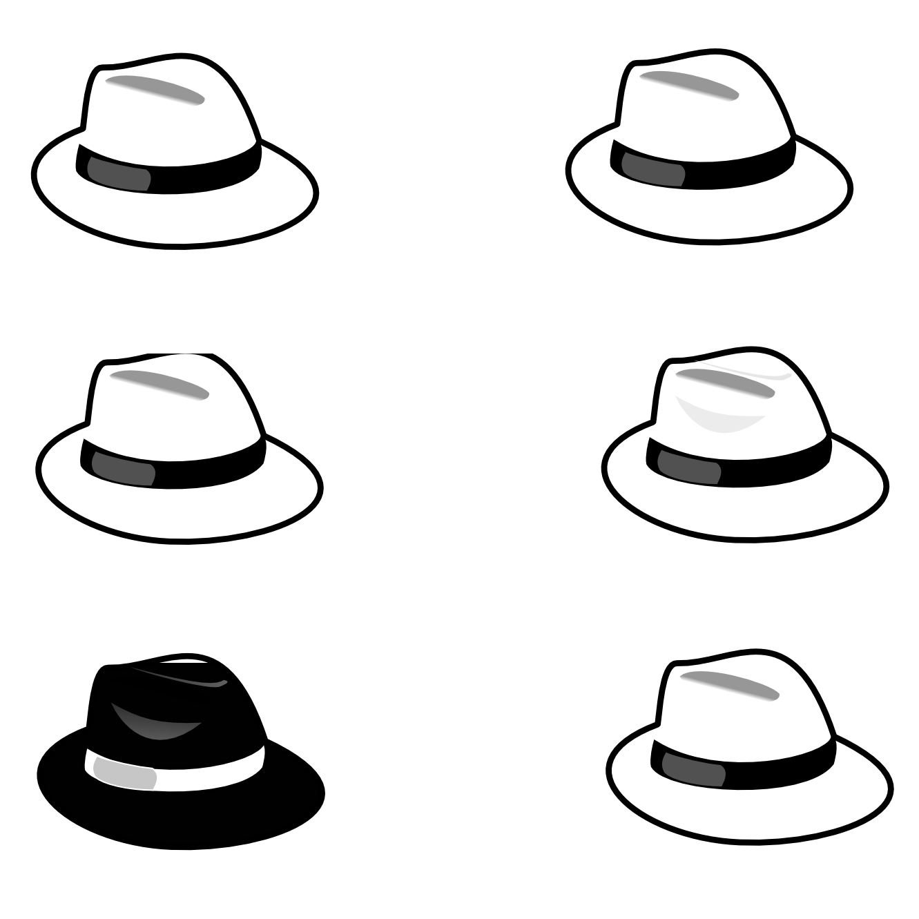 collection of six. Fedora clipart black and white