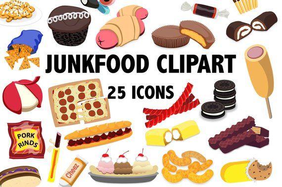 Desserts clipart snack. Junk food printable snacks
