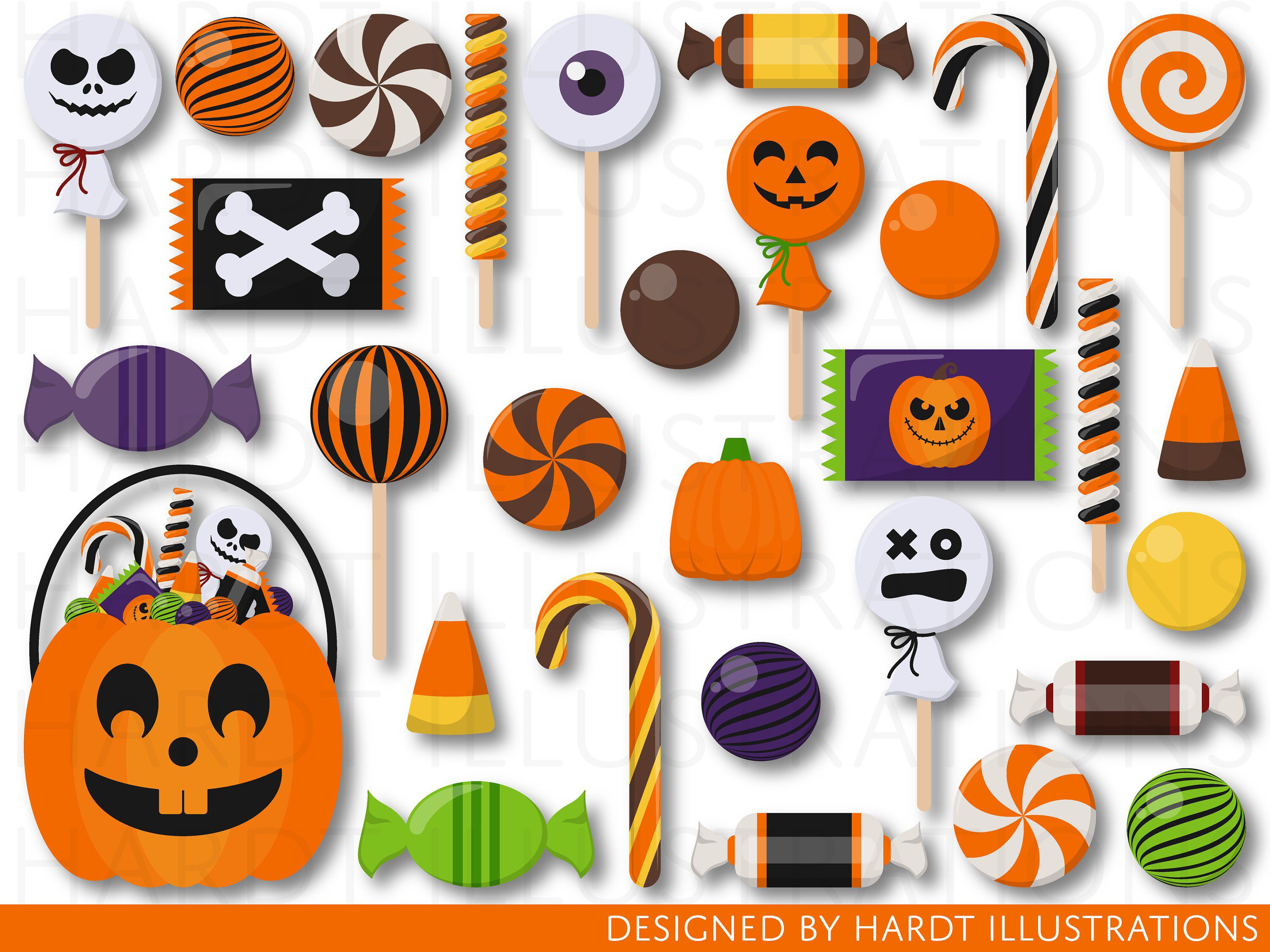 Clipart halloween treat. Candy candies trick or
