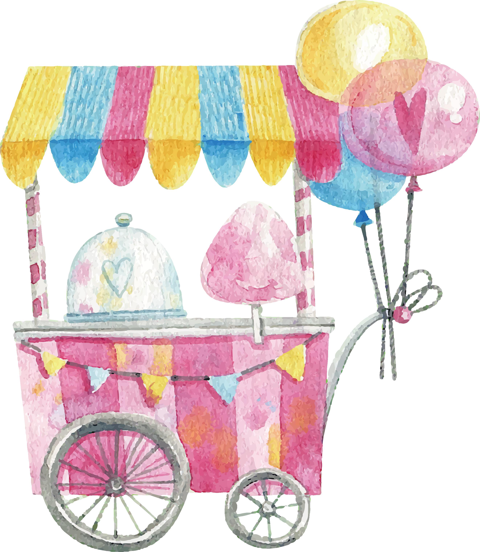 Cotton candy hand painted. Lollipop clipart watercolor