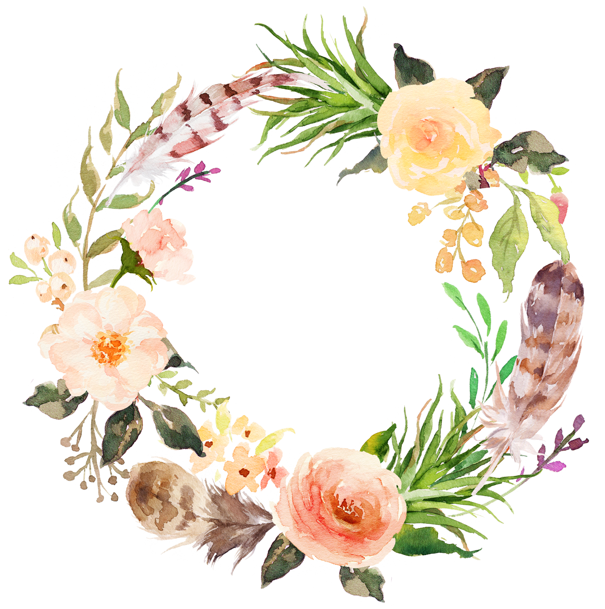 Flower Clip art - Watercolor aesthetic style floral wreath 1200*1208 ...