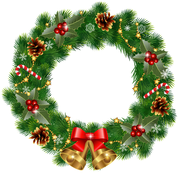 Cotton clipart cotton wreath. Christmas with bells png