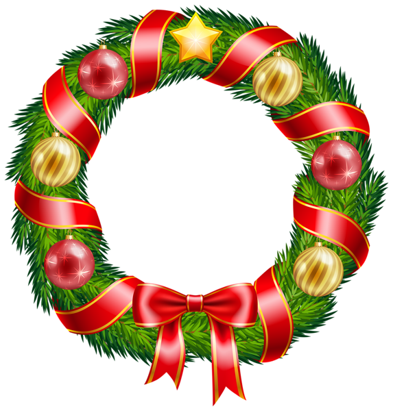 Clipart door xmas. Christmas wreath with ornaments