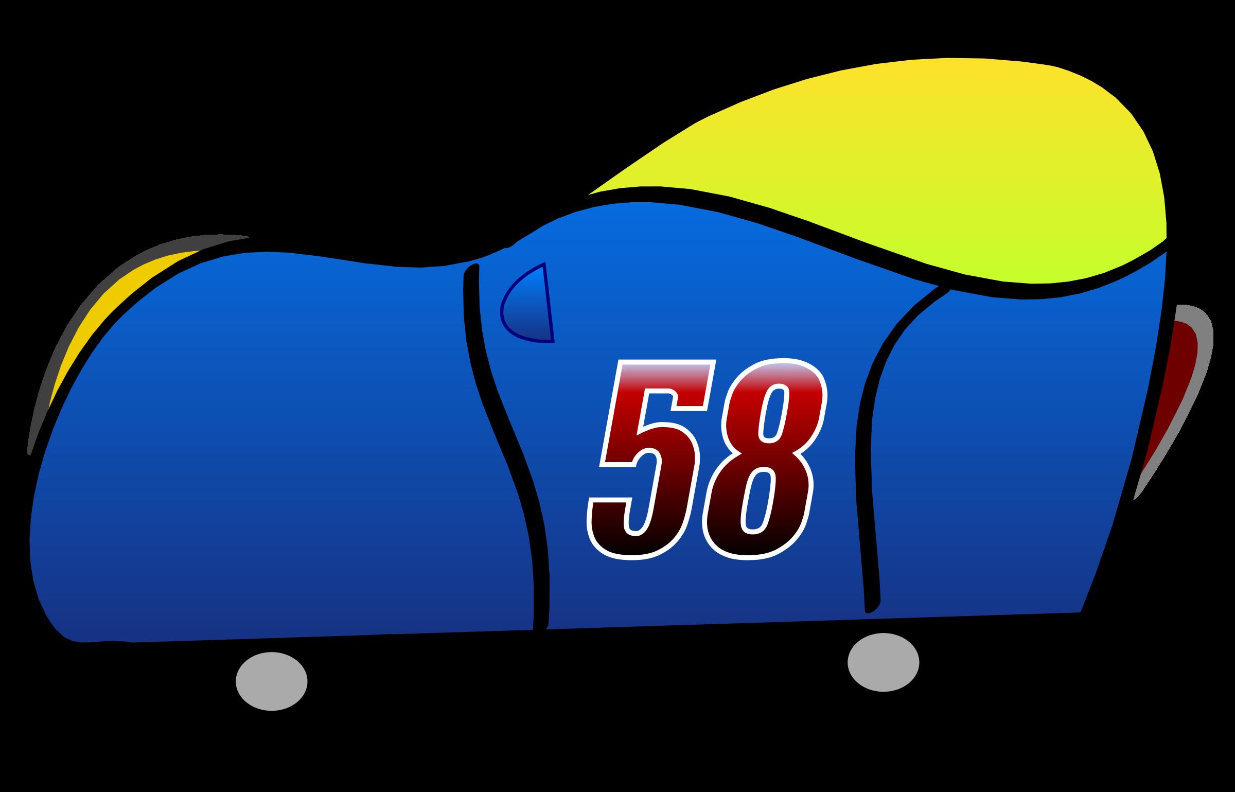 D blue funny car. Clipart cars train