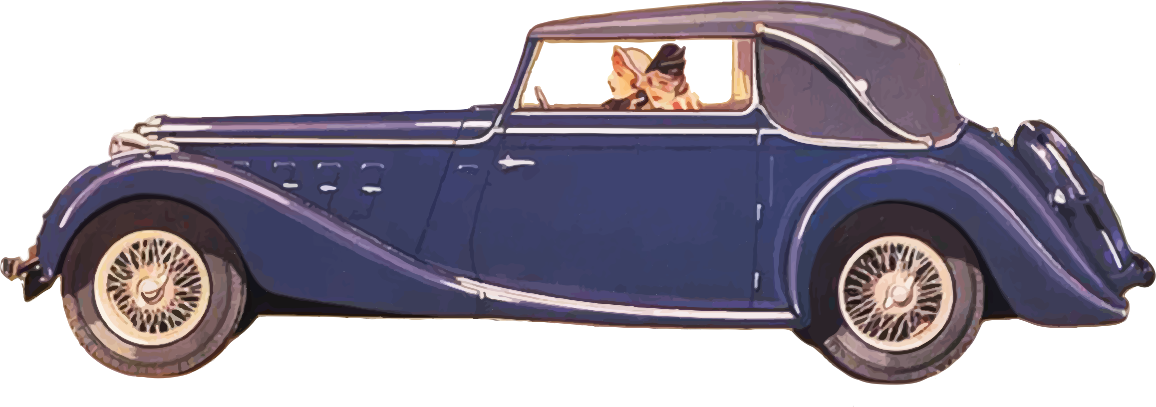 Clipart cars old time. Ladies driving vintage car