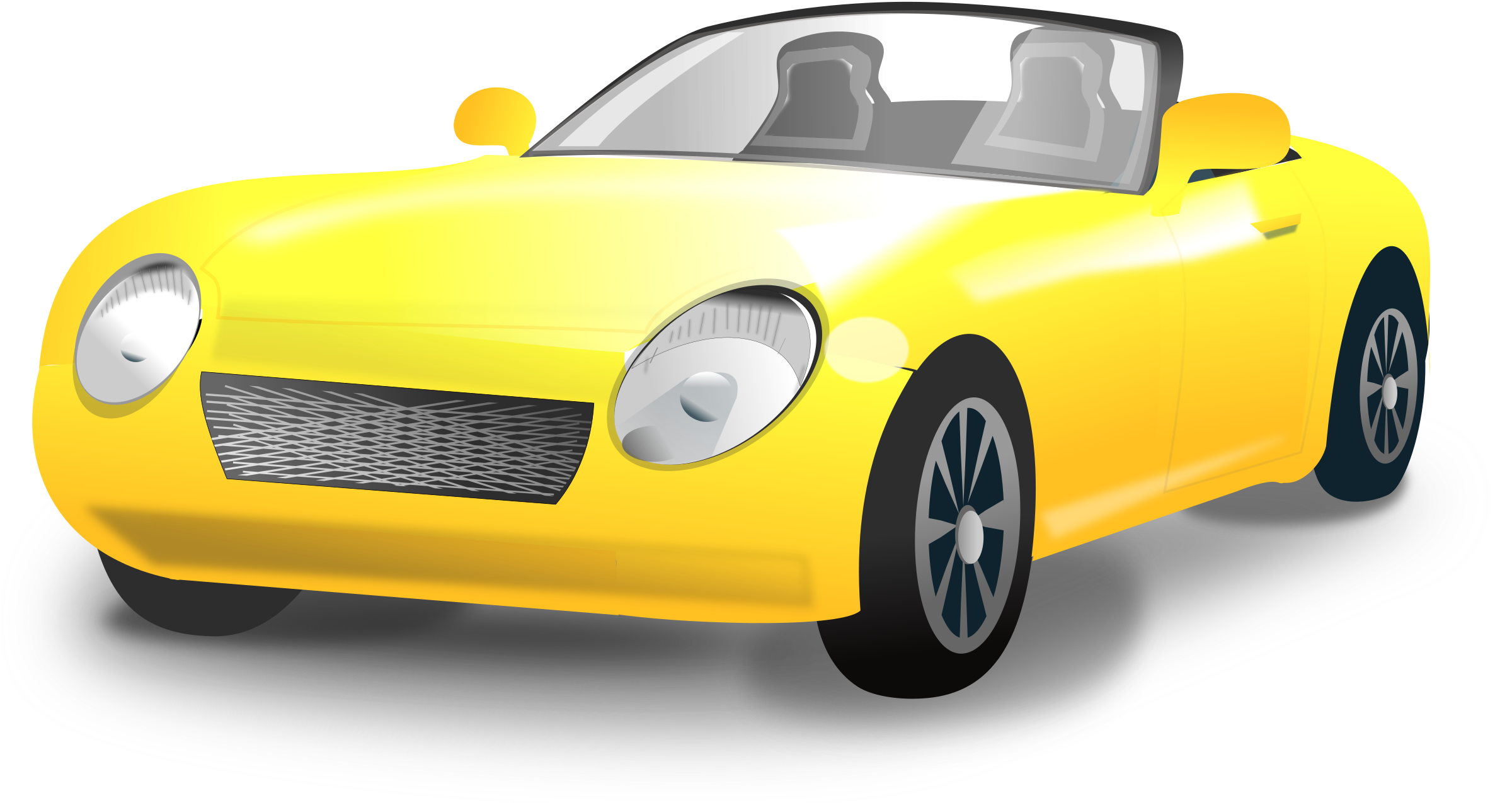 Clipart car convertible. Yellow sports big image
