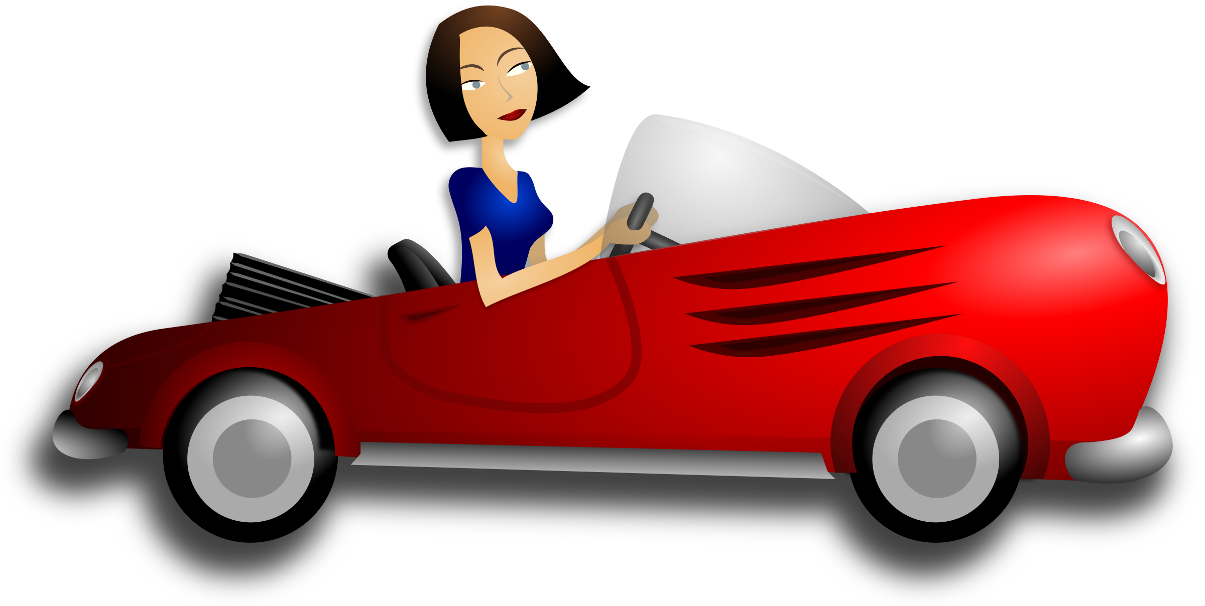 Clipart car convertible. Brunette female driver big